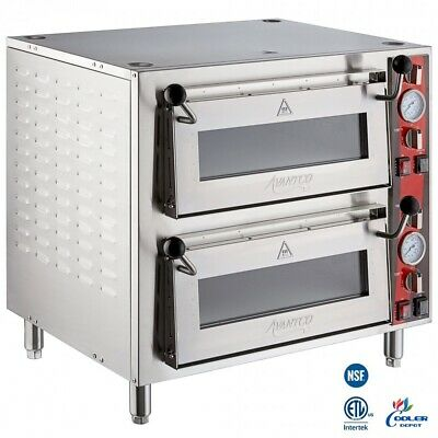 New 18 Commercial Double Deck Countertop Pizza Oven Independent Chambers 240v