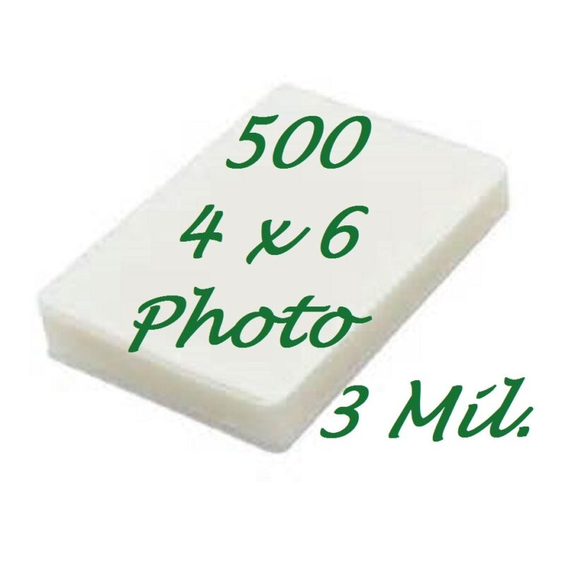 4 x 6 500 3 Mil Laminating Pouches Laminator Sheets 4-1/4 x 6-1/4 Video Card