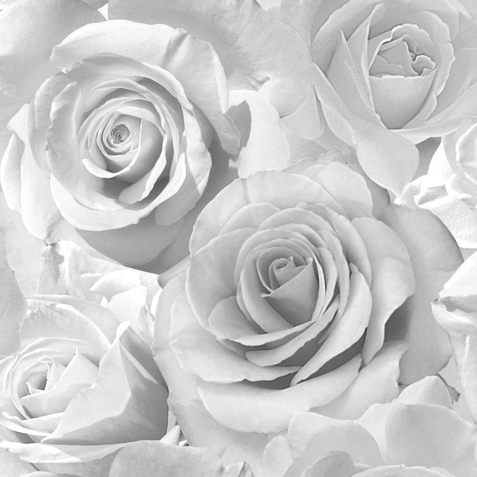 Muriva Madison Glitter Roses Floral Flower Silver Wallpaper 139520