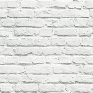 On Trend Fashion Led Design White Painted Brick Wallpaper