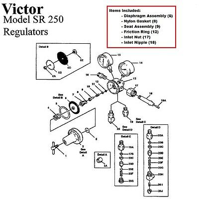 Victor Sr250d Sr250c Regulator Rebuildrepair Parts Kit Includes Bottle Fittings