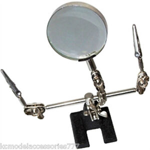 Soldering Iron Stand Helping Hand Magnifying Glass & Crocodile Clips