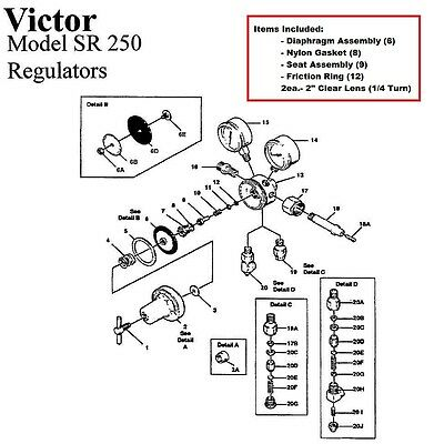 Victor 250-80-540 Oxygen Regulator Rebuildrepair Parts Kit W Diaphragm