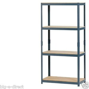 new edsal 4 shelf steel metal storage shelving industrial. Black Bedroom Furniture Sets. Home Design Ideas