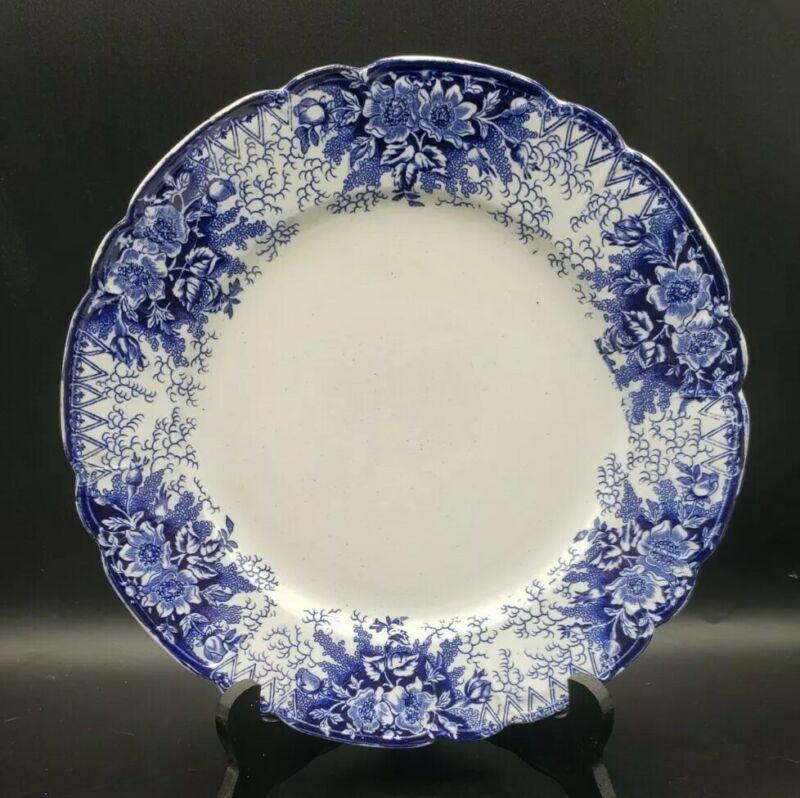 "Antique Royal Bonn WILDROSE 9-7/8"" Plate Germany Blue & White China"