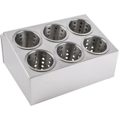 Six Hole Stainless Steel Flatware Holder with 6 CYLINDER Commercial Silverware