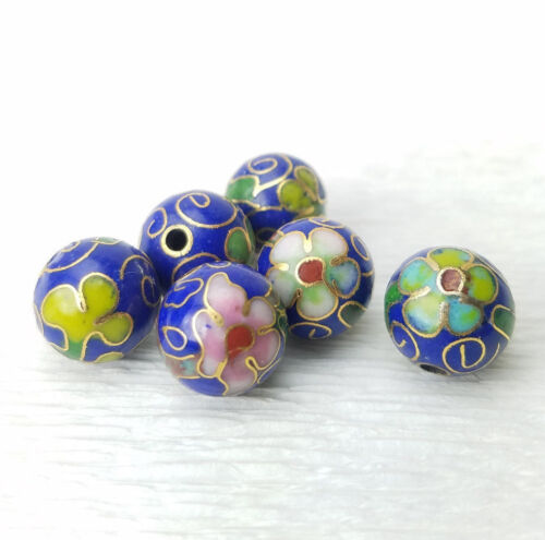 Vintage Dk Blue Mixed Color Flowers Cloisonne Chinese Enamel 10mm 6Beads