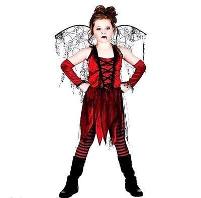 Child VAMPIRE FAIRY Girls Halloween Fancy Dress Costume Age 5-13 Years