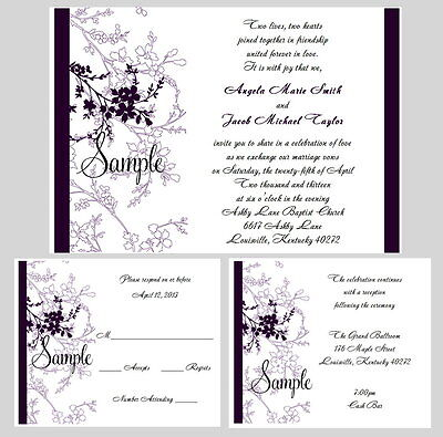 100 Personalized Purple Floral Wedding Invitations Set Reception RSVP Cards