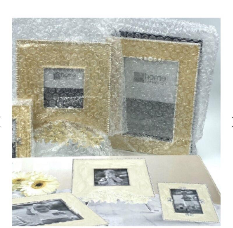 JC Penny Home Collection 4 Piece Epoxy Photo Album & Frame Set Pearl Cream Brown