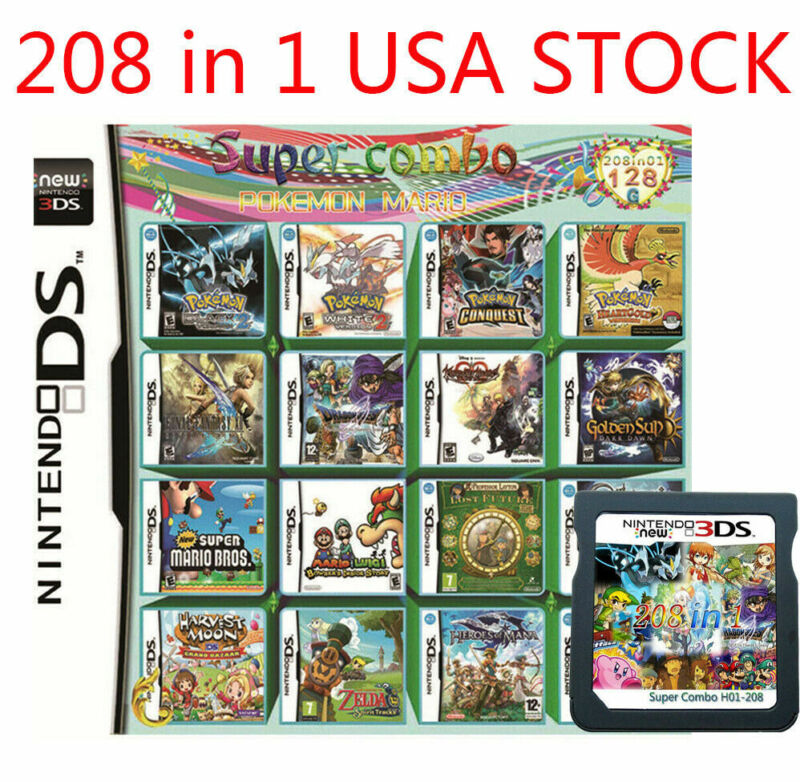 208 in1 Video Games Card Cartridge Multicart For DS NDS NDSL NDSI 2DS 3DS