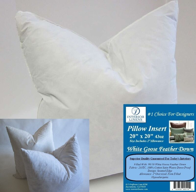 "2 - 20"" x 20"" 43oz. Pillow Insert: White Goose Down - 2"" Oversized & Firm Filled"