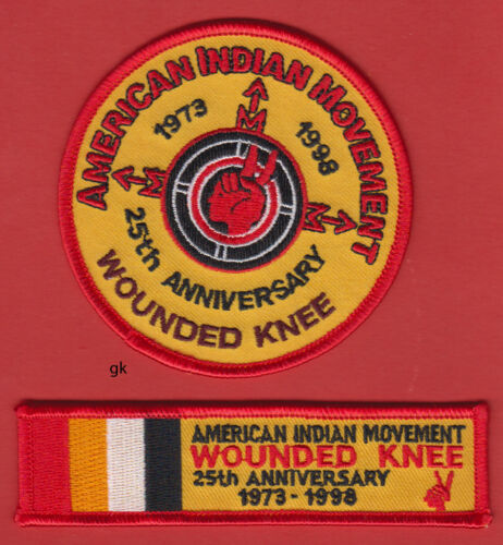 AIM  AMERICAN INDIAN MOVEMENT WOUNDED KNEE ANNIVERSARY 2 PATCH SET