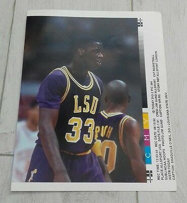 304) Shaquille O'Neil Louisiana state university basketball  press print photo
