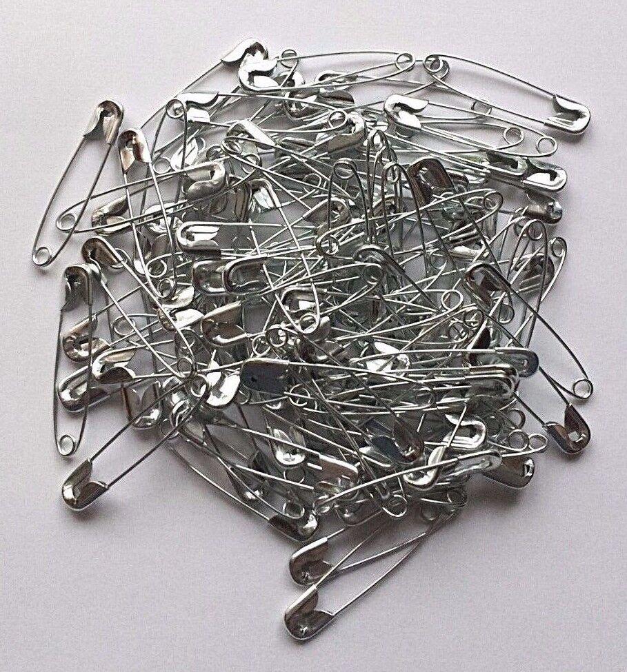 100 Sicherheitsnadeln 32mm x 6mm silber metall Tuchnadeln Kiltnadeln