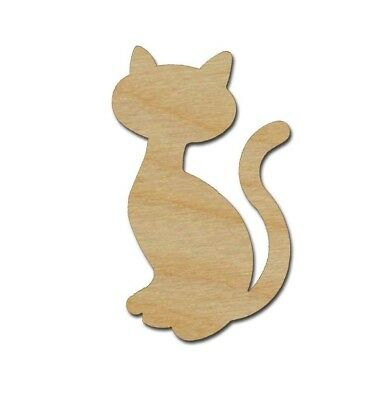 Cat Shape Unfinished Wood Cutout Variety of Sizes Artistic Craft Supply - Unfinished Wood Craft Supplies