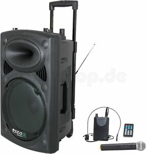 Ibiza PORT15 mobile Sound Beschallungsanlage PA DJ Box Bluetooth USB Mikrofon