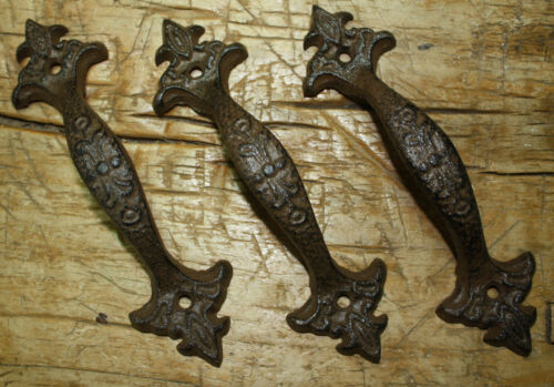 2 Large Cast Iron Antique Style FANCY Barn Handle Gate Pull Shed Door Handles #6