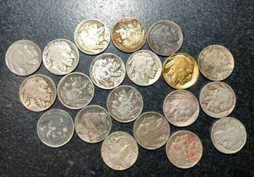 20CT STAINED HIGH GRADES AND BETTER DATES BUFFALO NICKELS ~