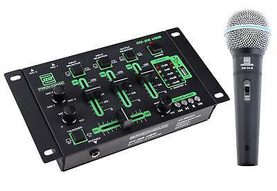 SET MIXER MICROFONO DJ PA DISCOTECA USB MP3 CONSOLE CAVO 3 CANALI ALIMENTATORE usato  Pescara