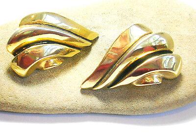 VINTAGE SATELLITE PARIS LARGE GOLD WING CLIP BACK EARRINGS  SIGNED