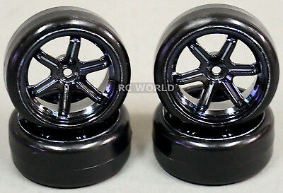 RC Car 1/10 DRIFT WHEELS TIRES Package 3MM Offset  6 Star  BLACK