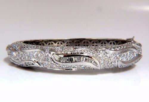 14.02ct Natural Diamonds Eternity Encrusted Bangle Bracelet 18kt +