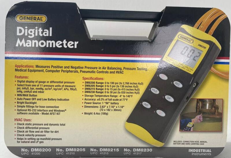 GENERAL DM8200 High Resolution Digital Manometer 0-100 Psi Very Clean!!!!