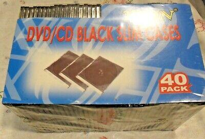 Teon Dvdcd Black Slim Cases 40 Pack Brand New In Original Package