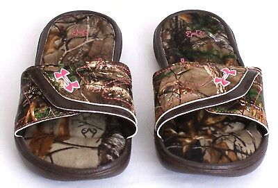 Under Armour Ignite VII Realtree Camo Slide Sandals Youth Girl's 4 NWT