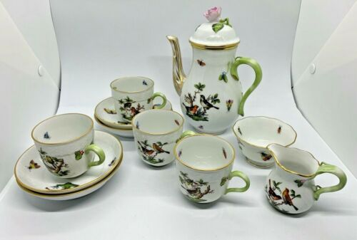 Herend Small Coffee/Tea Set Rothschild Bird