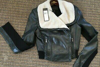 NWT $498 BCBG MaxAzria Viggo Short Black Lamb Leather Jacket Faux Fur Size XS