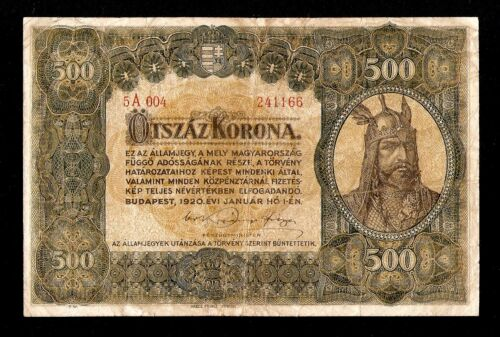 Hungary Ungarn 500 Korona 1920 . Pick # 65 . Scarce & beautiful banknote