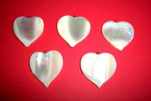 Lot of 10 Mother-of-Pearl Hearts for Jewelry! RT1039c