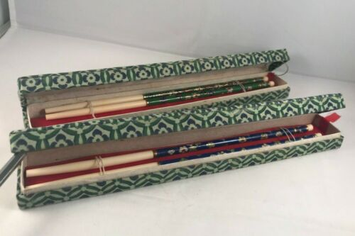 Vintage Cloisonne Chinese Chopsticks Original Box Set of 2