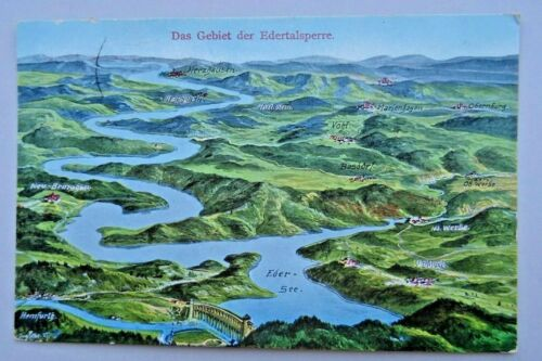 WWI. Area of the Edersee Dam. Vintage Map-Postcard. Rare