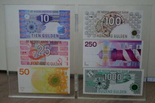 Netherlands RARE 6 latest banknotes UNC 1000 kievit 250, 100, 50, 25 Gulden