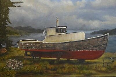 "Original Oil Painting ""Ancient Mariner"" Old Wooden Boat By Robert West 18x24"