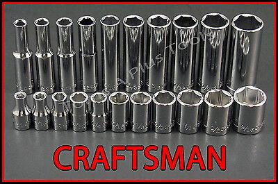 CRAFTSMAN HAND TOOLS 21pc Standard & Deep 1/4 SAE 6pt ratchet wrench socket set