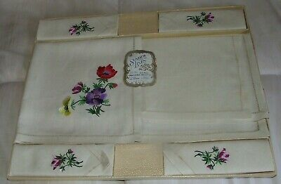 Vintage Sundew Irish linen 6 piece embroidered Poppies trolley set
