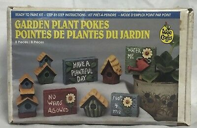 Wee Crafts Ready To Paint Kit Garden Plant Pokes #21387 8 Pottery Pieces NIB