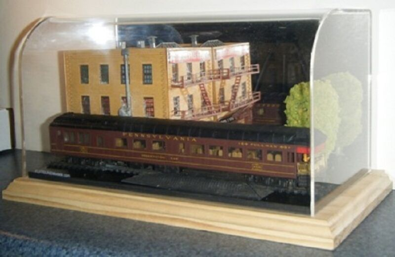 "Acrylic Model Display Case Thick Contoured View 12""x6""x6"" Cars Trains Dioramas"