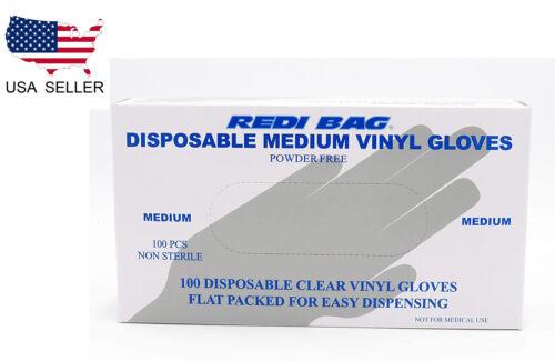 Redi Bag, Disposable Vinyl Gloves, Latex-Free, Powder-Free, 100 Count (Medium)