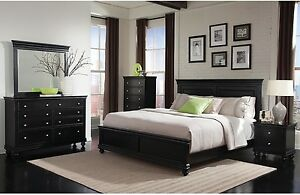 Queen size bedroom set - black - less than 1yr old