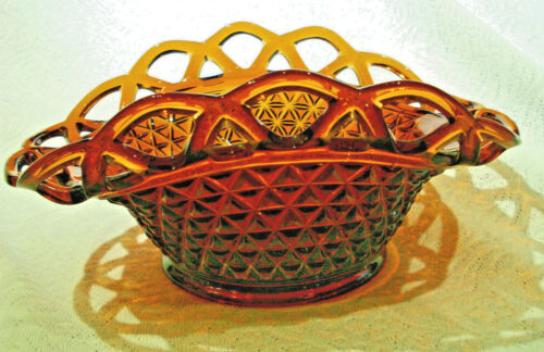 Imperial glass Amber Open lace Banana Bowl basket Diamond point