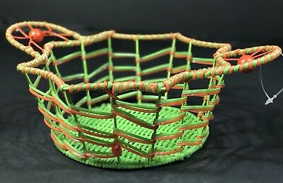 Halloween Candy Basket Bowl Green & Orange Spider Web Shape 2 Spider Handles NEW