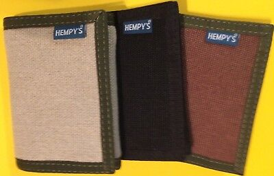 Cloth Tri Fold Wallet - HEMP fabric WALLET Trifold USA MADE black chain brown HEMPY'S tri fold  Vegan
