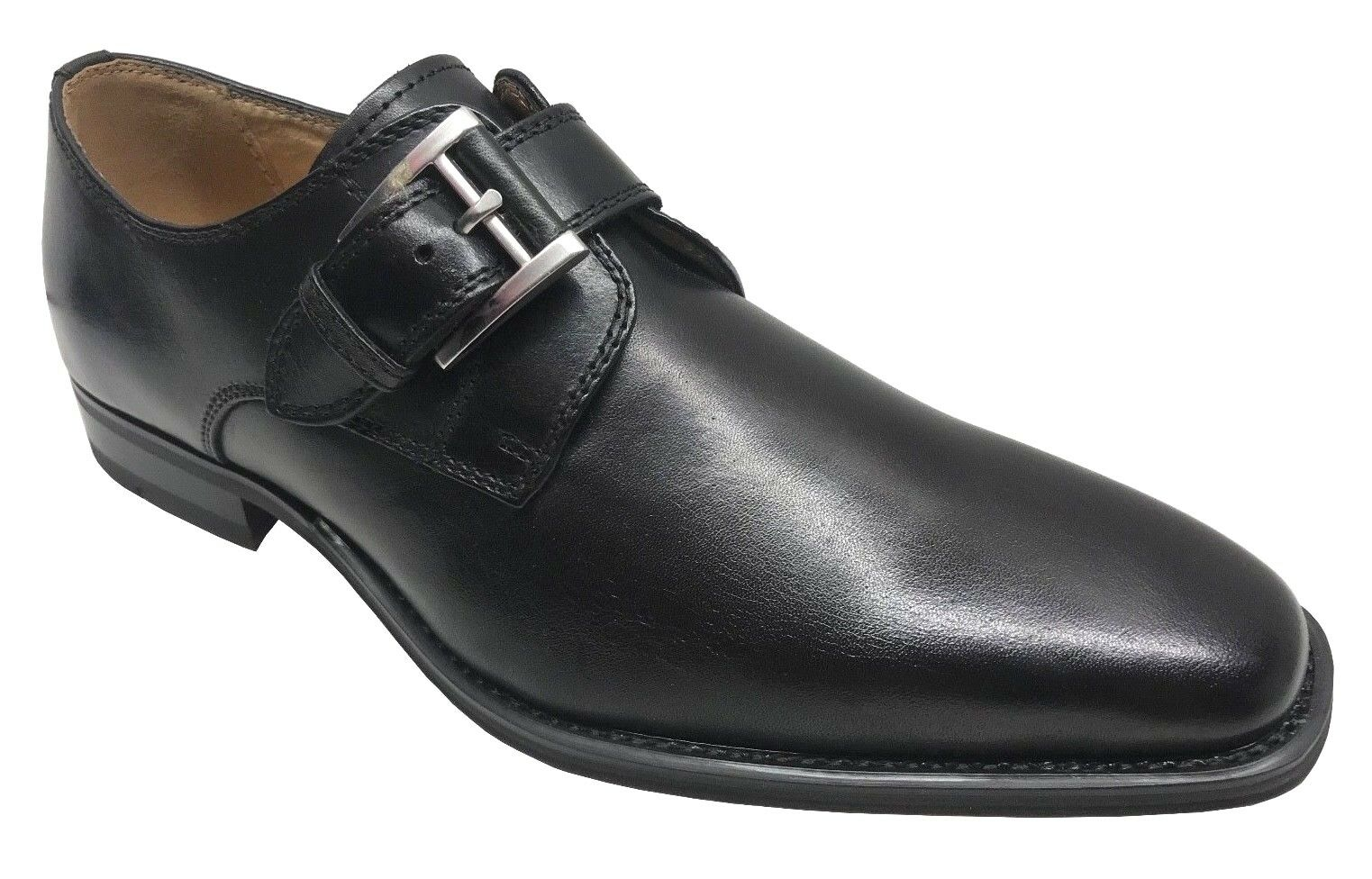La Milano Men's Monk Strap Black Leather Dress Shoes A11890