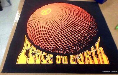 Vintage PEACE ON EARTH Black Light Poster 1970 HIP PRODUCTS Chicago HIPPIES - Black Light Products