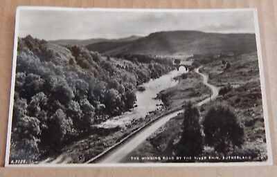 Postcard Scotland Winding road Riber Rhin Sutherland Real photo posted 1952